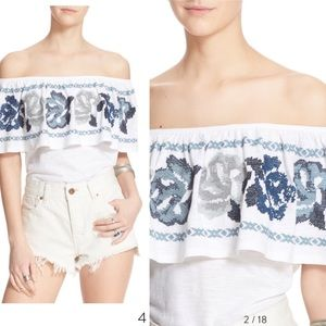 FREE PEOPLE 'Embroidered Off Shoulder Top